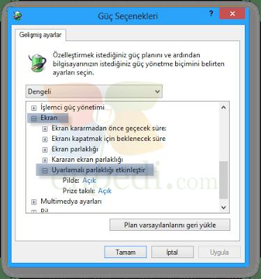 Windows 8'de Uyarlamalı Ekran Parlaklığı resmi