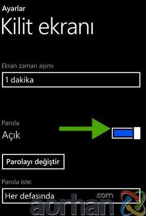 Windows 8 Phone Telefona Şifre Koymak