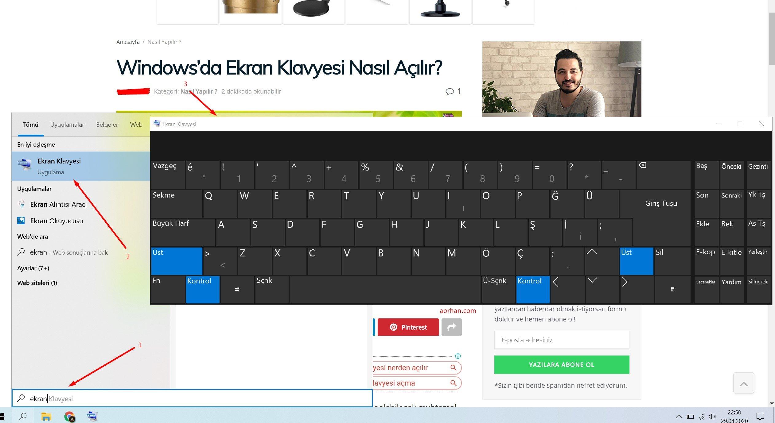 Windows'da Ekran Klavyesi Nasıl Açılır?