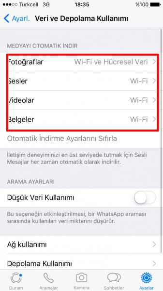Whatsapp'ta Verileri Otomatik İndirme Ayarı Nasıl Kapatılır?