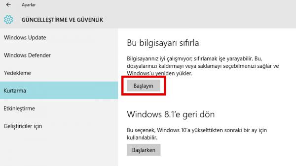 Windows 10 Bilgisayara Format Nasıl Atılır?