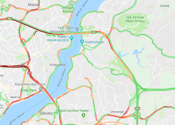 Google Haritalarda Trafik Bilgisi Sorgulama