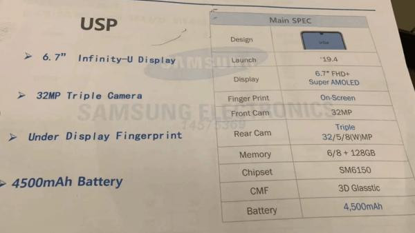 Dev Ekranlı Samsung Galaxy A60 Özellikleri