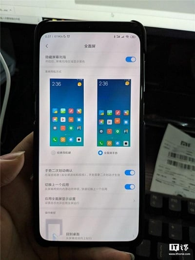 Xiaomi Mi9 Çentik Gizleme