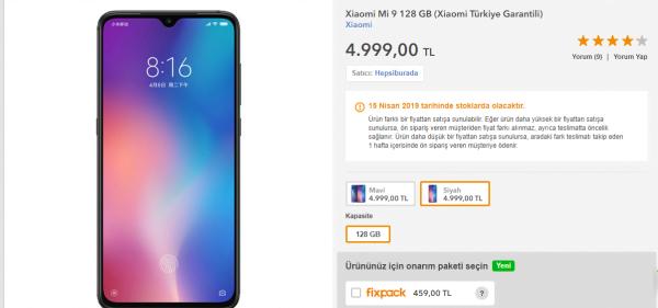 Xiaomi Mi 9 Satışta