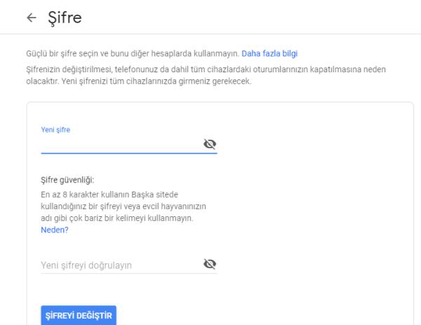 Gmail Şifresini Sıfırlama ve Değiştirme