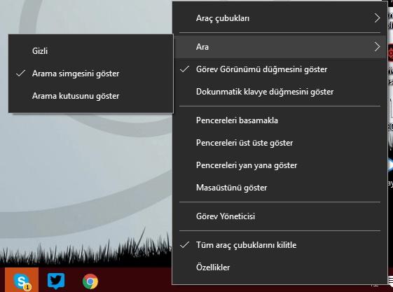 windows 10 arama kutusu