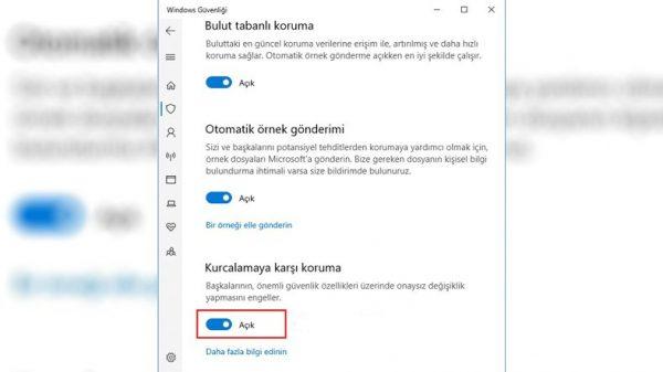 Windows 10 İçin Kurcalamaya Karşı Koruma Nedir?