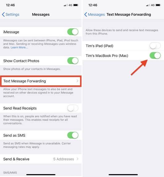 iPhone'dan Mesajları Diğer Cihaza Yönelendirme