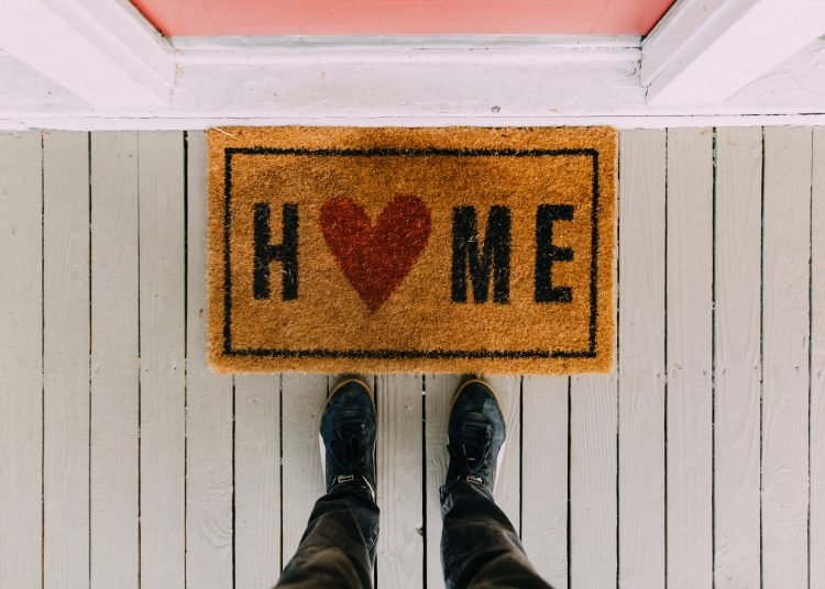 Black home area rug