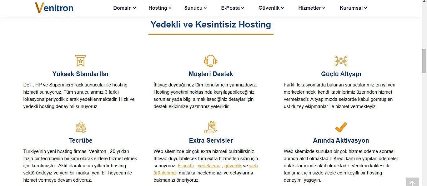 Uygun Fiyatlı Web Hosting Hizmeti: Venitron